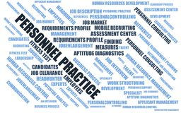 Personnel practice - word cloud / wordcloud with terms about recruiting Royalty Free Stock Photography
