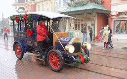 The personnel is preparing for the parade at Disneyland Paris in. Paris, France- January 02,2017:The personnel is preparing for the parade at Disneyland Paris in stock photography