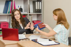 Personnel Specialist girl refuses to hire Stock Photography