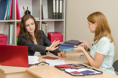 Personnel Specialist wants to look diplomas girl looking for a job Royalty Free Stock Images