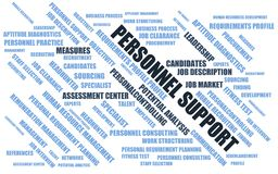 Personnel support - word cloud / wordcloud with terms about recruiting Stock Photos