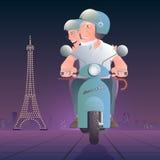 Personnes âgées devant l'illustration de vecteur de Tour Eiffel Illustration Stock