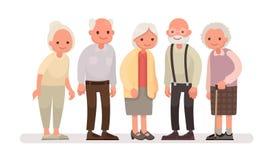 Personnes âgées Grands-parents sur un fond blanc Illustra de vecteur Photos stock
