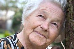 Personnes âgées par l'arbre Image stock