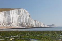 Personnes éloignées prenant un bain de soleil ayant les falaises de craie blanches dans le S Image libre de droits