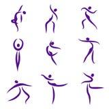 Personnes abstraites de danse, symboles Image stock