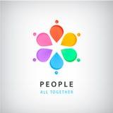 Personnes abstraites de vecteur dans le logo de cercle Le concept global, pétales de fleur, arc-en-ciel colore l'icône Photos libres de droits