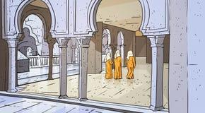 Personnes arabes venant à la religion musulmane Ramadan Kareem Holy Month de bâtiment de mosquée Photo stock