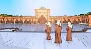 Personnes arabes venant à la religion musulmane Ramadan Kareem Holy Month de bâtiment de mosquée Images stock