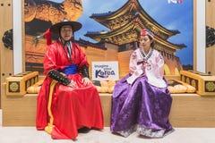 Personnes coréennes au peu 2015, échange international de tourisme à Milan, Italie Photos stock