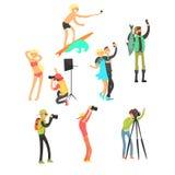 Personnes créatives posant tandis que photographe Taking Photos Positionnement d'illustration de vecteur illustration de vecteur