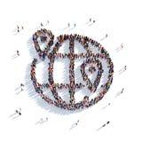Personnes 3d d'indicateur de carte de globe Images libres de droits