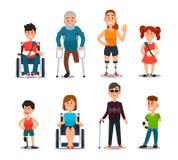 Personnes d'incapacité Caractères en difficulté et handicapés de bande dessinée Personne dans le fauteuil roulant, la femme bless illustration de vecteur