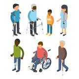 Personnes d'incapacités isométriques Les adultes sourds de soin de maggiore défectueux de personnes d'invalids de blessure dirige illustration libre de droits
