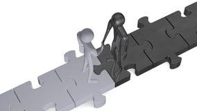Personnes 3d noires et blanches sur des puzzles se serrant la main Photos stock