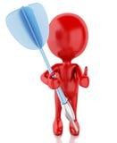 personnes 3d rouges avec des dards Fond blanc d'isolement illustration stock