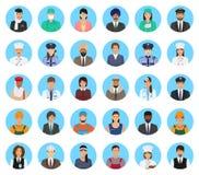 Personnes de caractères d'avatars d'ensemble différent de profession Icônes de personnes de professions des visages sur un fond b Image libre de droits