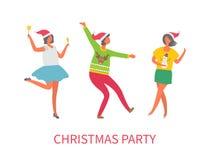 Personnes de fête de Noël, danse d'amis ensemble illustration de vecteur