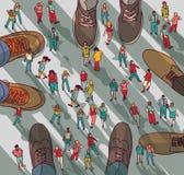 Personnes de groupe d'homme d'affaires de grande et petite entreprise grandes illustration stock