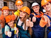 Personnes de groupe dans l'uniforme de constructeur. Photographie stock libre de droits