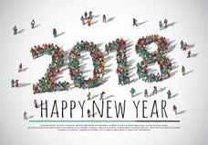 personnes de groupe de foule de 2018 bonnes années grandes Images libres de droits
