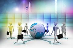personnes de l'homme d'affaires 3d avec la terre de globe Image libre de droits