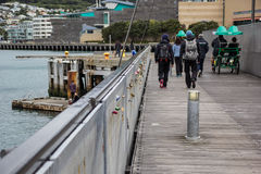 Personnes de marche à la baie Image libre de droits