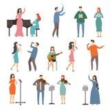 Personnes de musicien dans différents duos de musique Caractères de vecteur des chanteurs Image stock