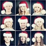 Personnes de Noël Homme, femme et enfants en Santa Hat Photos stock