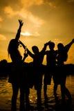 Personnes de partie d'été sur la plage Photographie stock libre de droits