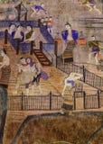 Personnes de peintures murales de peinture vivant en temps antiques du nord de la Thaïlande Photos libres de droits