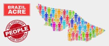Personnes de population de carte d'état d'acre et timbre corrodé illustration stock