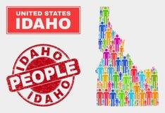 Personnes de population de carte d'état de l'Idaho et phoque corrodé illustration stock