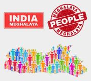 Personnes de population de carte d'état de Meghalaya et filigrane corrodé illustration libre de droits