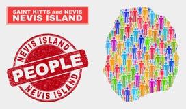 Personnes de population de carte d'île du Niévès et filigrane corrodé illustration libre de droits