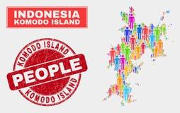 Personnes de population de carte d'île de Komodo et filigrane corrodé illustration stock