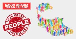 Personnes de population de carte d'île de Tiran et phoque corrodé illustration de vecteur