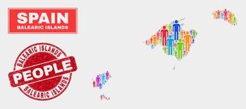 Personnes de population de carte d'Îles Baléares et phoque corrodé de timbre illustration stock