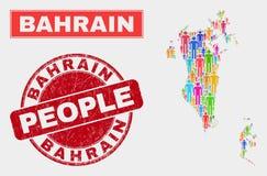 Personnes de population de carte du Bahrain et timbre corrodé illustration libre de droits