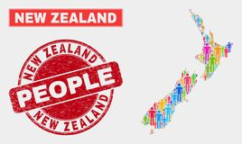 Personnes de population de carte du Nouvelle-Zélande et phoque corrodé illustration stock