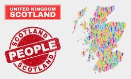 Personnes de population de carte de l'Ecosse et timbre corrodé illustration libre de droits