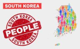 Personnes de population de carte de la Corée du Sud et timbre corrodé illustration de vecteur