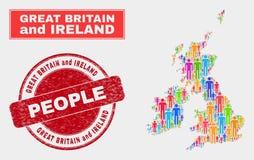 Personnes de population de carte de la Grande-Bretagne et de l'Irlande et phoque corrodé illustration stock