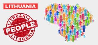 Personnes de population de carte de la Lithuanie et timbre corrodé illustration libre de droits