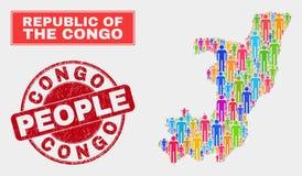 Personnes de population de carte de la République du Congo et phoque corrodé illustration de vecteur