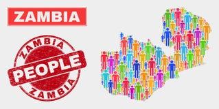 Personnes de population de carte de la Zambie et filigrane corrodé illustration stock