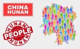 Personnes de population de carte de province de Hunan et timbre corrodé illustration libre de droits