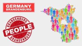 Personnes de population de carte de terre de Brandebourg et filigrane corrodé illustration libre de droits