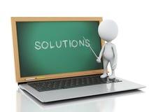 Personnes de race blanche avec l'ordinateur portable et le tableau noir Solutions d'affaires concentrées Image libre de droits