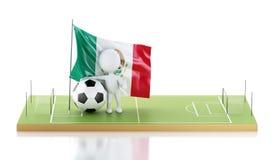 personnes de race blanche 3d avec le drapeau et le ballon de football du Mexique Image libre de droits